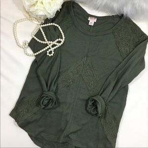 Army green thermal with lace detail